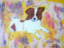 Abstrakte malerei, Tiere, Hund, Malerei
