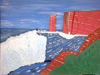 Meer, Abstrakte malerei, Insel, Malerei