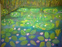 Teich, Seerosen, Pflanzen, Abstrakte malerei