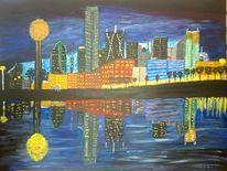 Skyline, Abstrakte malerei, Stadt, Landschaft