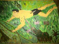 Abstrakte malerei, Menschen, Comic, Natur