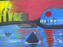Abstrakte malerei, Landschaft, Hafen, Malerei