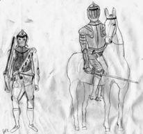 Krieg, Reiter, Pistole, Zeichnung