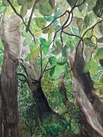 Im tiefsten wald, Acrylmalerei, Pflanzen, Landschaft