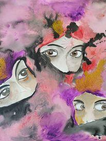 Acrylmalerei, Lila, Rot, Fantasie