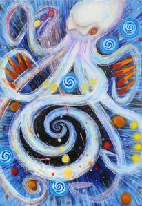 Krake, Acrylmalerei, Malerei, Fantasie