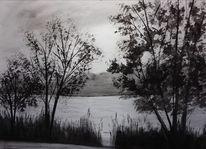 Schwarz, Landschaft, Weiß, Aquarellmalerei