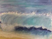 Meer, Landschaft, Aquarellmalerei, Aquarell