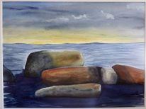 Meer, Stein, Aquarellmalerei, Landschaft