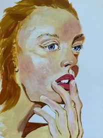 Schön, Malerei, Frau, Blond