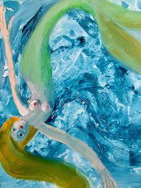 Schwimmen, Malerei, Meerjungfrau, Wasser