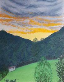 Wolkendecke, Tal, Dämmerung, Malerei