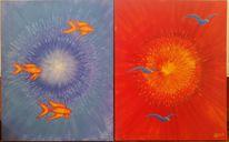Vogel, Sonne, Licht, Fische