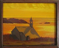 Sonnenuntergang, Meer, Kirche, Malerei