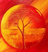 Kugel, Orange, Baum, Malerei