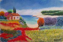 Haus, Bunt, Meer, Malerei