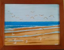Strand, Möwe, Meer, Malerei