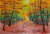 Herbst, Wald, Lichtung, Aquarell