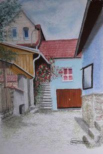 Altstadt, Dorf, Gasse, Malerei