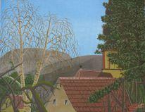 Baum, Dorf, Berge, Malerei