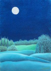 Mondlicht, Wiese, Baum, Malerei