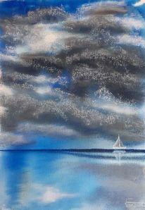 Spiegelung, Wolken, Meer, Malerei