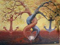 Baum, Landschaft malerei, Wurzel, Anker