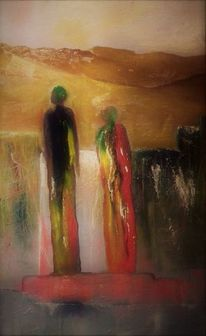 Landschaft, Figur, Abschied, Malerei