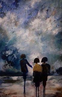 Figur, Strand, Wind, Himmel