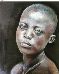 Portraitzeichnung, Pastellmalerei, Menschen, Afrika