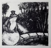 Märchen, Monotypie, Frosch, Zeichnungen