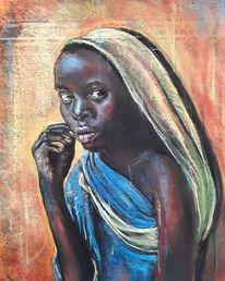 Pastellmalerei, Mädchen, Afrika, Bunt