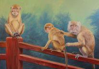 Ölmalerei, Affe, Tiere, Makaken