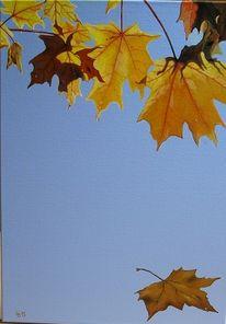 Ahorn, Blätter, Blau, Malerei