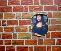Wand, Ziegel, Mona lisa, Illusion