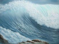 Meer, Brandung, Wasser, Ölmalerei
