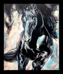 Pferde, Abstrakt, Acrylpainting, Dunkel