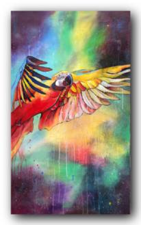 Malerei, Bunt, Papagei, Acrylmalerei