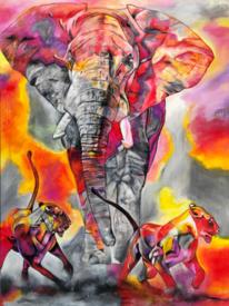 Acrylmalerei, Löwe, Pink, Acrylpainting