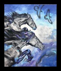 Acrylmalerei, Vogel, Abstrakt, Pferde
