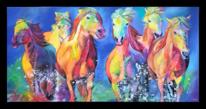 Acrylmalerei, Pferde, Abstrakt, Pferdeherde