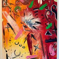 Gedanken, Gesicht, Orange, Malerei
