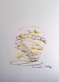 Zeichnung, Grün, Bleistiftzeichnung, Gelb