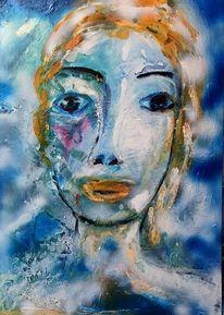 Abstrakt, Frau, Blau, Malerei
