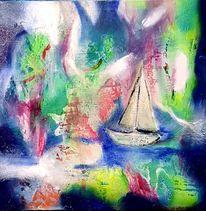 Überfahren, Traum, Boot, Malerei