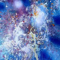 Mondschein, Blau, Abstrakt, Malerei
