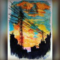 Pastellmalerei, Landschaft, Stadt, Sonnenuntergang