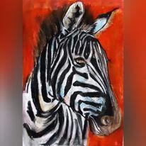 Malerei, Zebra, Pastellmalerei, Tiere