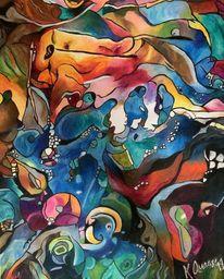 Abstrakt, Pastellmalerei, Bunt, Malerei