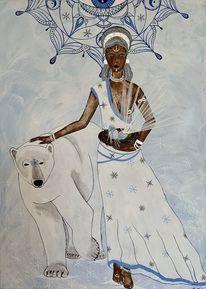 Weiß, Acrylmalerei, Seherin, Kraft